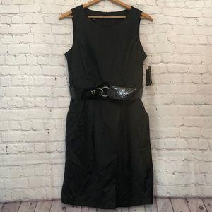 NWT silk feel black AGB midi sleeveless dress